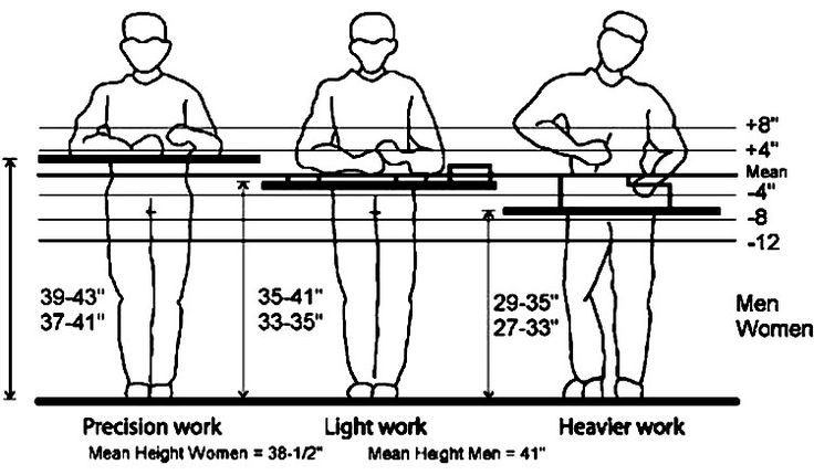 Reference for adjustable workbench height recommendations.