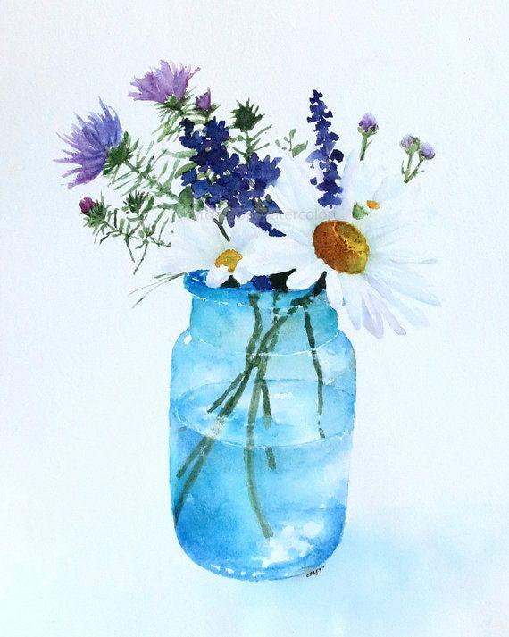 Daisy boeket aquarel schilderen archivering afdrukken door carolsapp