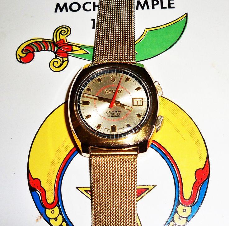 Cauny Prima 17 Jewel Alarm w Date ISO 1970