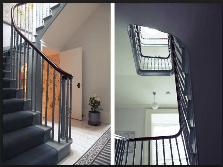 Nice use of soft grey no stairs under runner