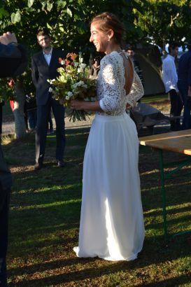 Robe de mariée bohème décolleté dos dentelle jupe fluide, Morgane