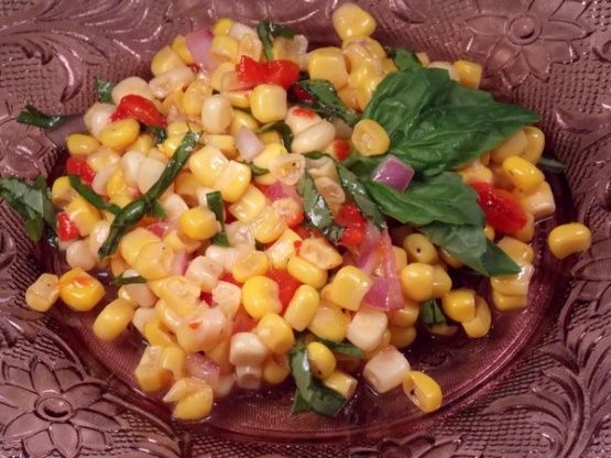 Okay, there are over 600 recipes for Fresh Sweetcorn Salad, but after a quick check there didnt seem to be any quite like this one, which I have made and can totally recommend.  I found this one by doing a Google Search and it is credited as being an adaptation of a recipe by Ina Garten and published by a foodie called Hannah.  Really tasty, quick and easy.
