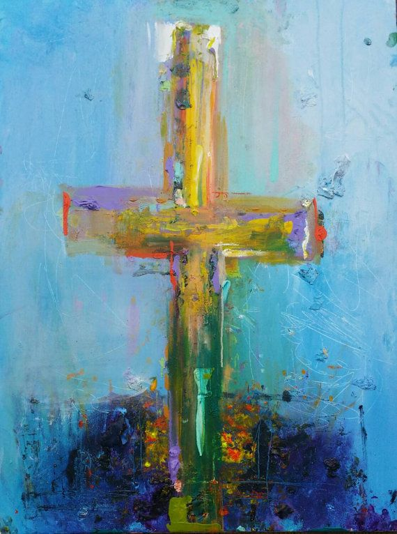 Cross - Finding Him - Large Christian Cross Original Abstract Acryllic painting on canvas
