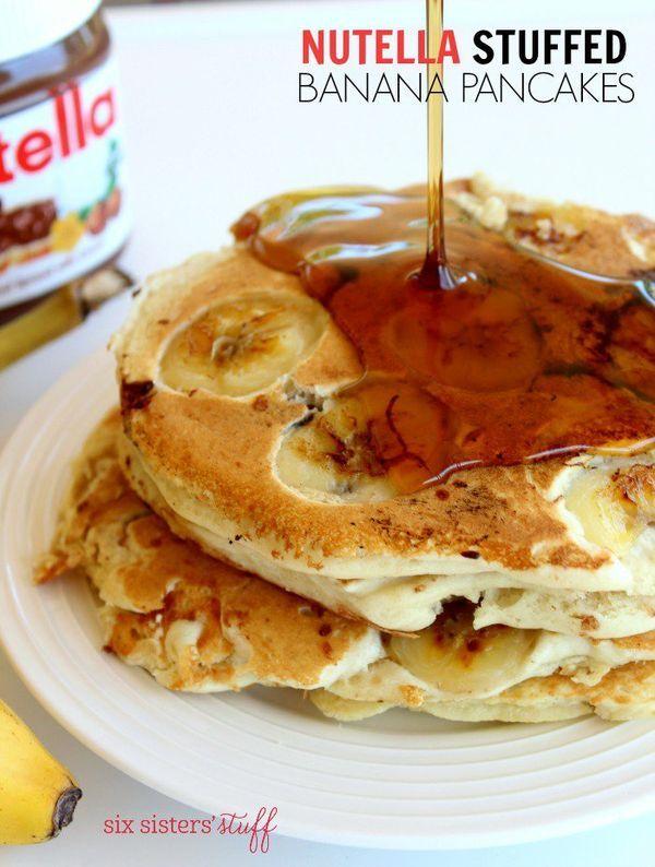 Nutella Stuffed Pancakes recipe from @sixsistersstuff