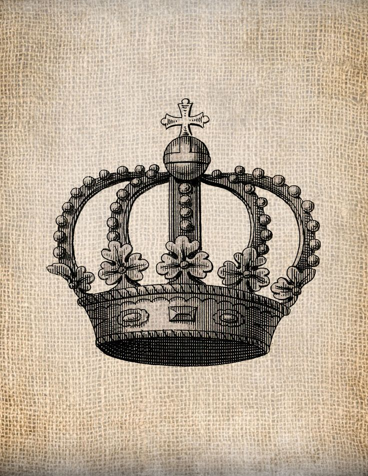 Antique Heraldry Crown Royalty 1 King Queen Prince Princess Illustration  Digital Download for Papercrafts, Transfer, Pillows, etc No 1393