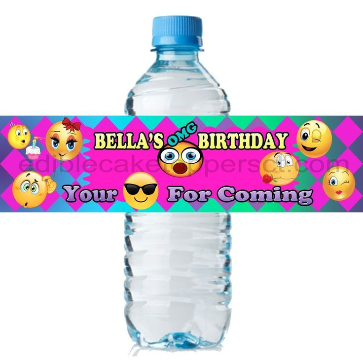 (20) Personalized EMOJI 2 x 8 Weatherproof Water Bottle Labels Party Favors #OnlineLabels