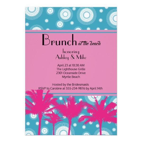 Brunch at the Beach Party Invitation Customizable Invitations #beach #summer #wedding #invitation