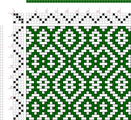 draft image: Threading Draft from Divisional Profile, Tieup: Crackle Design Project, Draft #13430, 4S, 4T