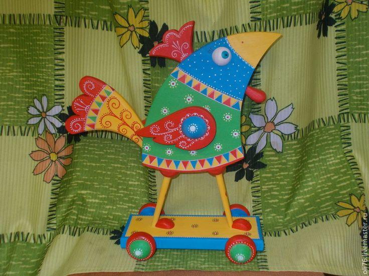 Купить Петушок - разноцветный, петушок, роспись, интерьерная игрушка, скульптура, скульптура из дерева, дерево