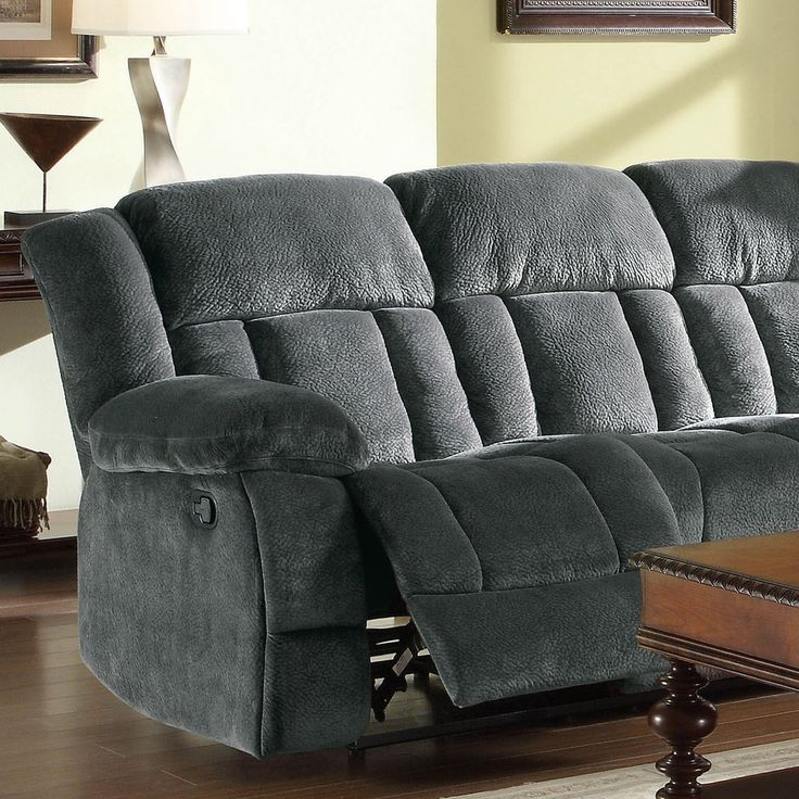 Mason Modern Gray Microfiber Double Reclining Sofa | Overstock.com : recliner overstock - islam-shia.org