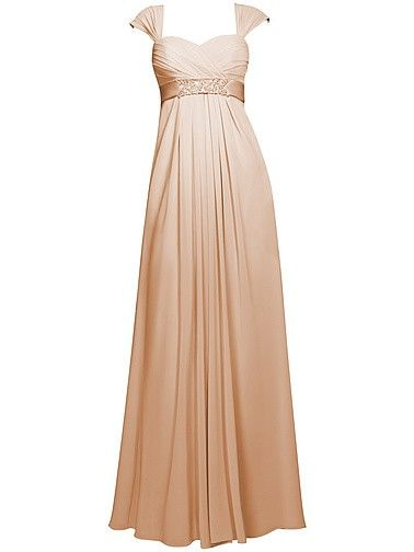 Pin to Win a Wedding Gown or 5 Bridesmaid Dresses! Simply pin your favorite dresses on www.forherandforhim.com to join the contest! | Cap Sleeve Chiffon Dress $219.99