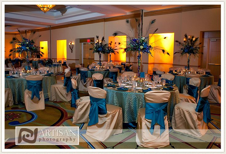 Chocolate And Teal Wedding Reception: Blue,green,brown Copper Peacock Wedding