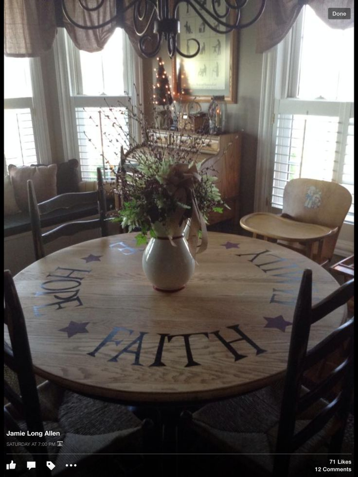 pictures+of+primitive+stenciled+tables | Stenciled dining table... Cute!