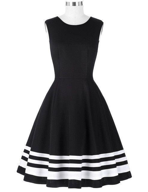 Belle Poque 2017 Retro Vintage Sleeveless Black White Print 50s 60s Vintage Dresses Audrey Hepburn Plus Size Womens Clothing