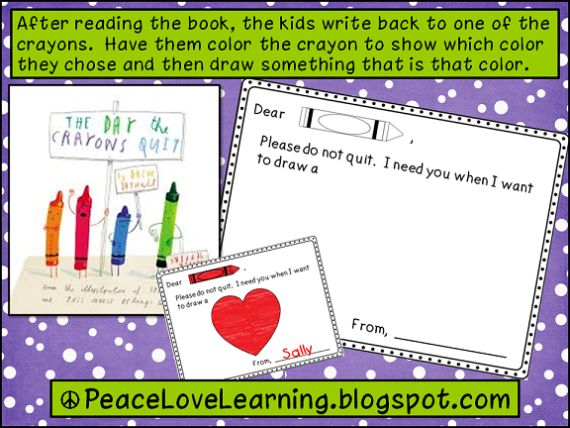 the day the crayons quit writing activity for kindergarten
