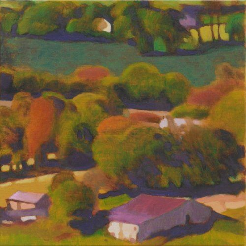 farmland _across_the _valley 40 x 40 cms Tom Henderson Smith. Click the picture or 'visit site' to access a link to its Artstack page where there are 'zoom' and 'view in room' facilities.