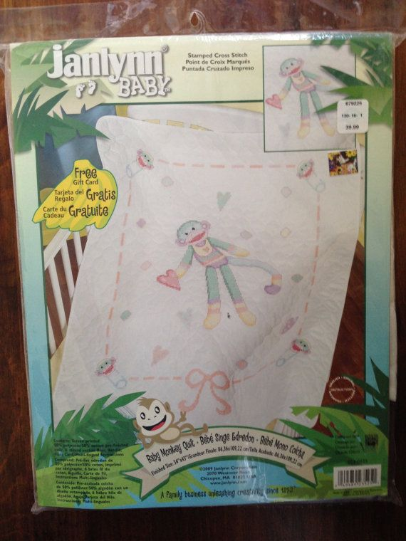 Sock Monkey Baby Quilt Janlynn Stamped Cross Stitch