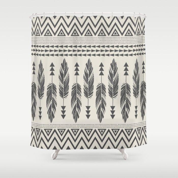 Tribal Feathers Black   Cream Shower CurtainBest 25  Cream shower curtains ideas on Pinterest   Elegant  . Black And Cream Shower Curtain. Home Design Ideas
