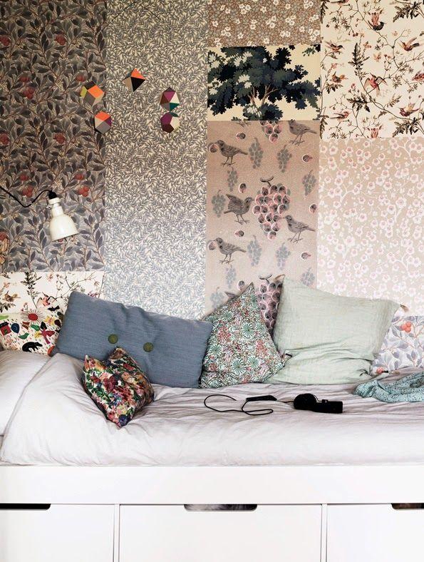 Love the patchwork of wallpapers. Source: http://elledecoration.se/hemma-hos-fotografens-fantastiska-funkisoas/