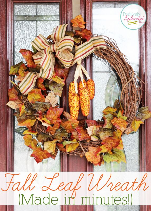 This fall leaf wreath will add a touch of fall color to any space, and can be made in 15 minutes or less!  #fall #wreaths