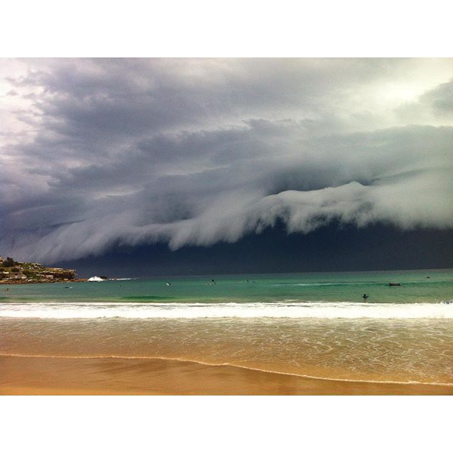 Storm front moving over Bondi Beach