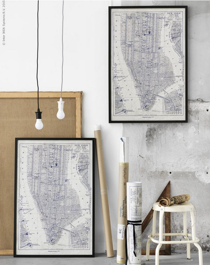The new poster BILD is a reproduction of an old map of Manhattan and the dark blue print fits nicely into a black RIBBA frame