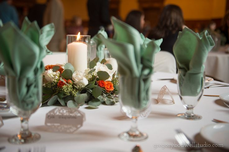 Laura + Michael | wreath and candle centerpiece by @AuroraFloraOH | Photo by Gregory Bodwell Studio http://www.gregorybodwellstudio.com/