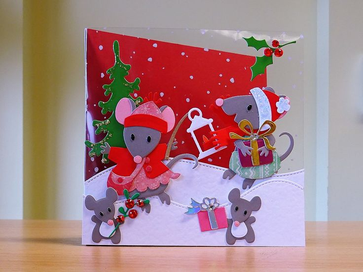 Christmas Card, Handmade - Marianne mice family die. For more of my cards please visit CraftyCardStudio on Etsy.com.