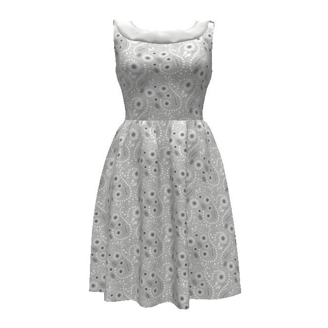 Colette Patterns Moneta Dress made with Spoonflower designs on Sprout Patterns. Inspired by a #wedding and #engagement theme, this floral celebrates all things #girly. #Flowers, #pearls and #bows - #silver #gray with flecks of #gold.