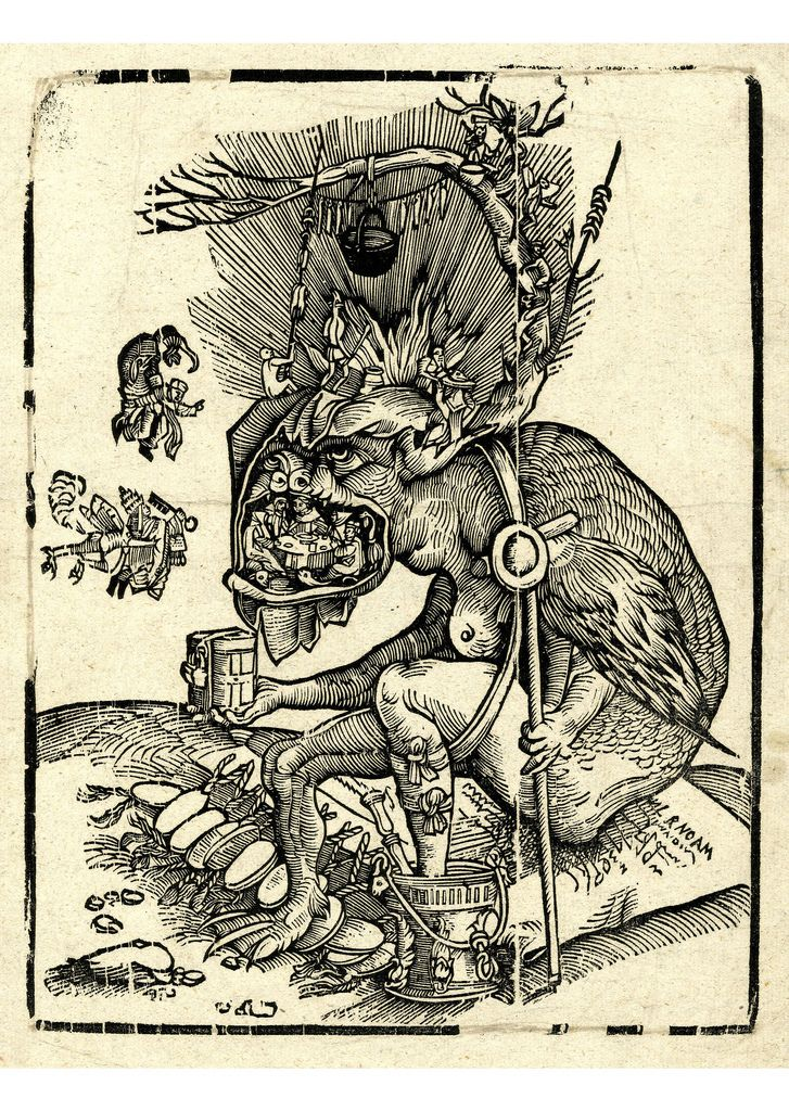 The demon seated, turned to left on a papal bull, its left foot in a vessel for Holy Water, and holding a collection box in its right hand. Smaller demons preparing food on its head, flying creatures approaching with the pope and a canon. Woodcut Attributed to Matthias Gerung,Formerly attributed to Hans Weiditz, Germany, 1520-1560. .View EXTRA Large!