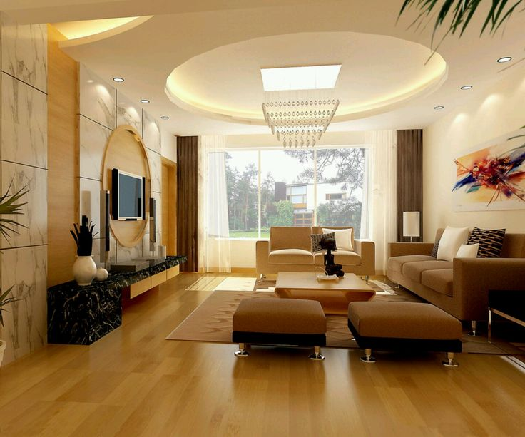 round pop ceiling designs for modern living room with brown sofa sets and laminate flooring