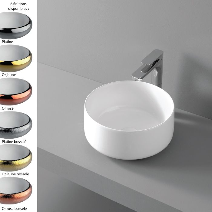 Vasque Ronde O35 Cm Design Ceramique Fine Or Argent Cognac Artceram Vasque Ceramique Vasque Design