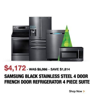 Samsung Black Stainless Steel 4 Door French Door Refrigerator 4 Piece Suite.  Kitchen ...