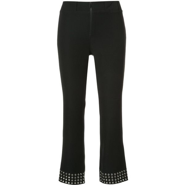 Paco Rabanne eyelet cropped trousers ($594) ❤ liked on Polyvore featuring pants, capris, black, cropped pants, cropped capri pants, cropped trousers, paco rabanne and eyelet pants