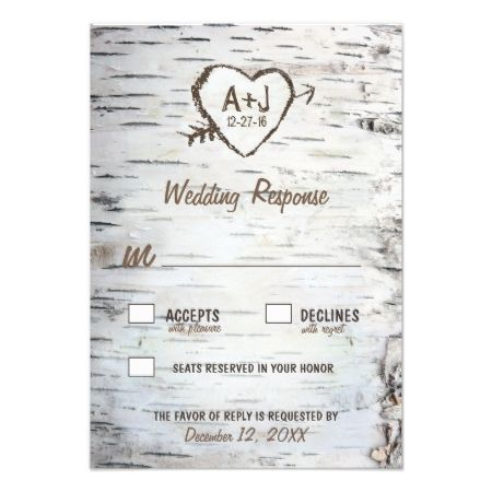 Country Rustic Birch Tree Bark Wedding RSVP Cards - tap, personalize, buy right now!