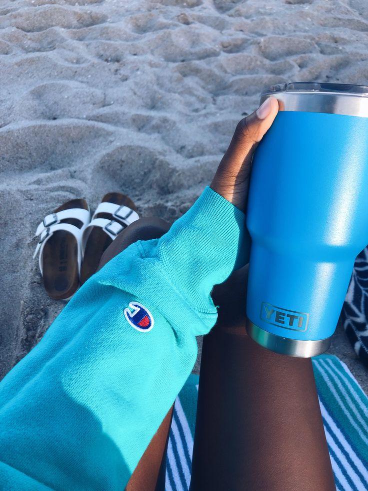 Blue Champion Hoodie Blue Yeti Beach White Birkenstocks