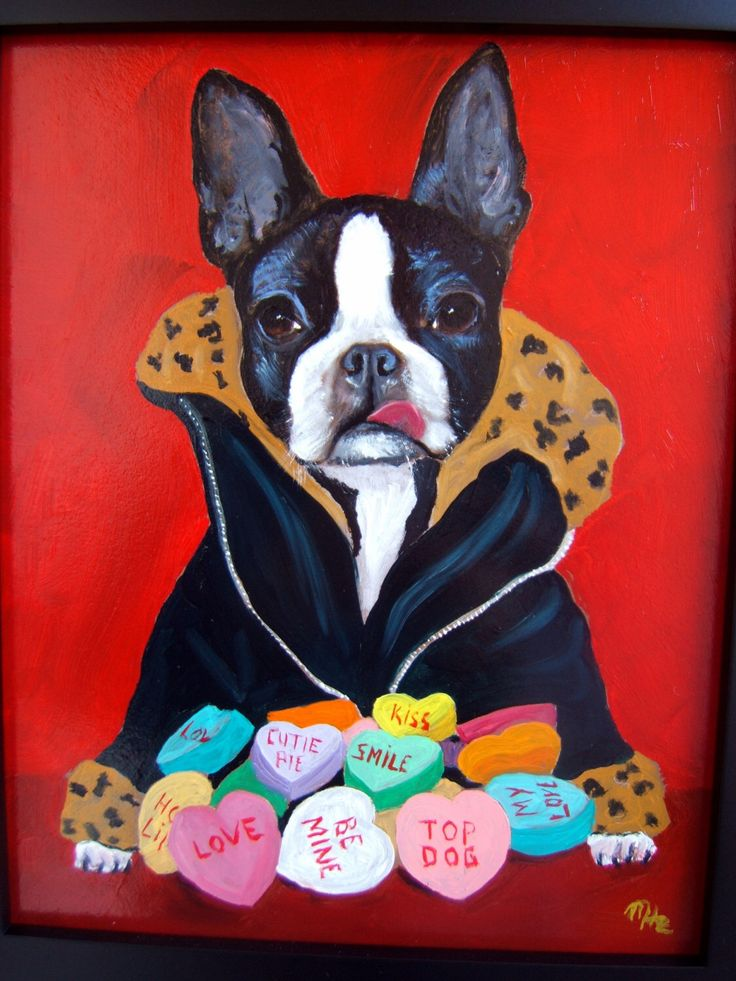 """Boston Terrier Art Dog Print/ """"Top Dog"""" / Valentine/by Original Mike Holzer by dogwagart on Etsy https://www.etsy.com/listing/121242286/boston-terrier-art-dog-print-top-dog"""
