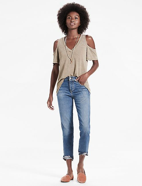 THE ANGELES COLD SHOULDER V NECK BURNOUT TEE, OLIVE