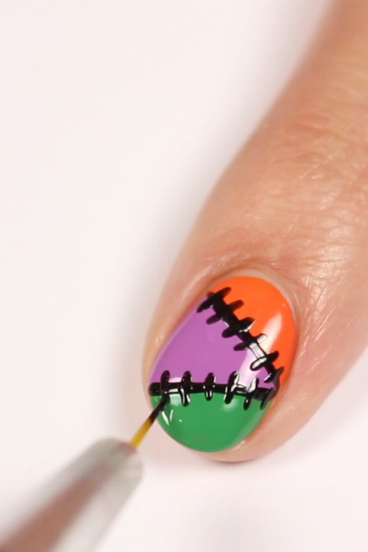 Easy Halloween Nail Art In Just 5 Steps Sign Us Up With This Stitched Manicure In 2020 Halloween Nails Halloween Nail Art Sally Hansen