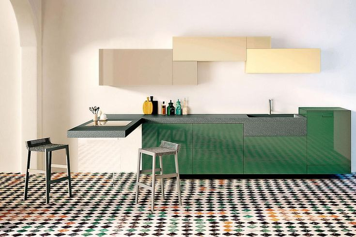 Emotional and hi-tech, the cooking area looks more and more to the living.  25 solutions with work plans that become tables apparecchiareLago