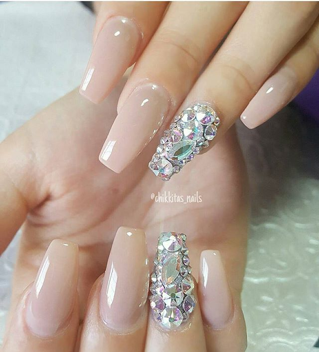 Lovely nails by @chikkitas_nails ✨✨ .  Shop for Swarovski crystals, nail charms, chrome powder and much more at DAILYCHARME.COM!