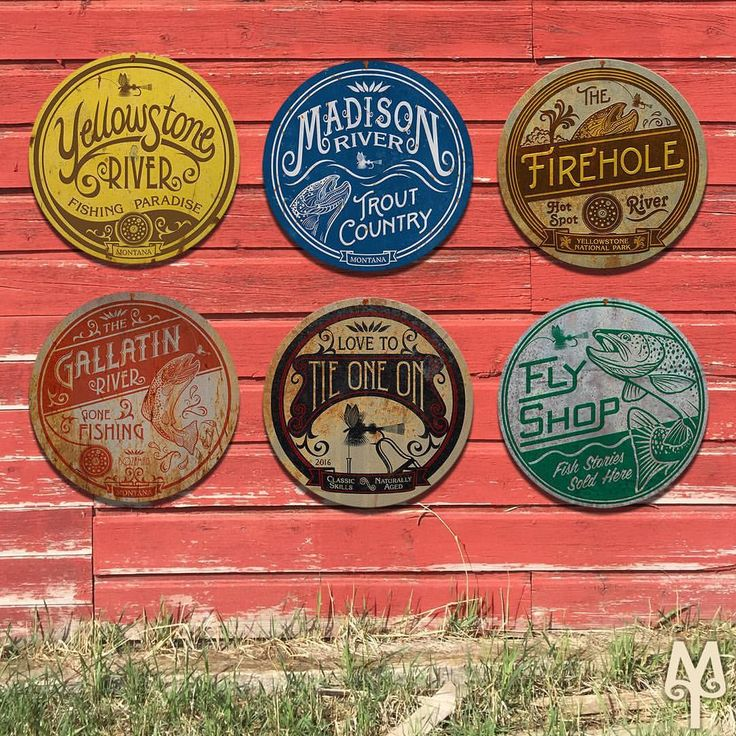 "68 Likes, 2 Comments - Montana Treasures (@montana_treasures) on Instagram: ""Add these Vintage Fly Fishing signs to your collection; and, make decorating your man cave or cabin a priority this year. Montana Treasures sells unique Montana and fly fishing wall art. Metal disk art comes in 14, 28, 36, and 43 inch diameters."""