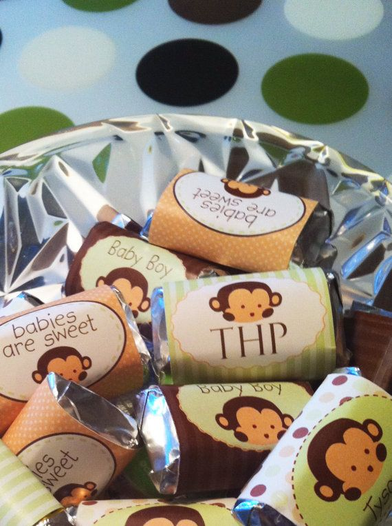 Candy wrappers for monkey baby shower minis favors and babies - Monkey baby shower favors ideas ...