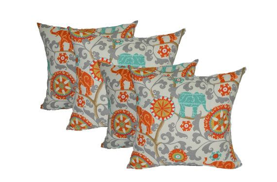 "Set of 4 ~ 17"" Orange, Teal / Turquoise, Gray Bohemian Elephant Indoor / Outdoor Decorative Pillows - Zipper Cover + Inserts"