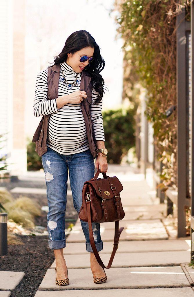 http://cuteandlittle.com | petite fashion blog | maternity | blue mirrored aviators, striped turtleneck, military utility vest, motherhood maternity distressed boyfriend jeans, leopard pumps | outfit
