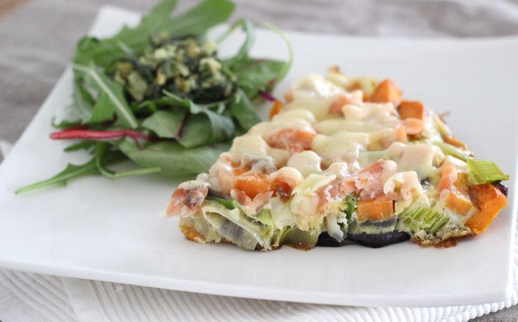 """Oe la la, dit gerecht is goddelijk! Een tortilla oftewel een omelet, gemaakt van zoete aardappel, prei, zalm en pesto. Wat mij betreft allemaal maar lekkere ingrediënten, dus kan dit gerecht bij voorbaat al niet mislukken. Ben benieuwd wat jij van deze creatie vindt! Ingrediënten (voor 2-3 personen): 2 zoete... <a href=""""http://cottonandcream.nl/tortilla-van-zoete-aardappel-prei-zalm-en-pesto/"""">Read More →</a>"""