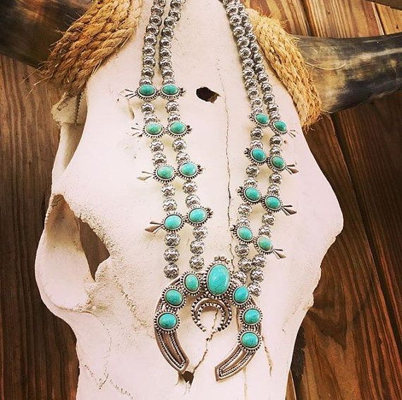 Double Strand Faux Turquoise Squash Blossom Necklace, Squash Blossom Necklaces, Chunky Bib Necklace, Rodeo Necklace