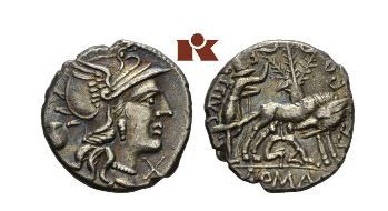 Rome 137 bc denarius. This is one of the first coins I owned.  It shows the shepherd Faustulus who found and raised Romulus and Remus after the she-wolf.  The x on all these denarii is the Roman numeral 10.