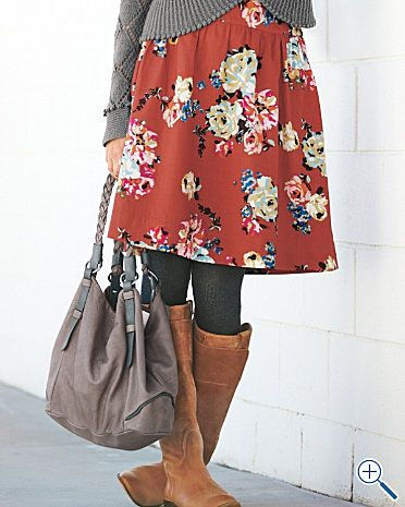 for some reason i love this floral dress with solid sweater & dark tights & boots, looks cute & comfy. makes me ready for some cooler days :)