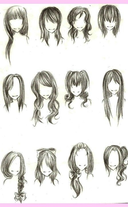 Some more examples of hairstyles for inspiration. I may attempt to add some of the bang styles for flair. I think the hair on the extreme top left would fit Pepper quite well.